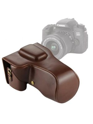 Full Body Camera PU Leather Case Bag for Canon EOS 760D / 750D (18-135mm Lens) (Brown)