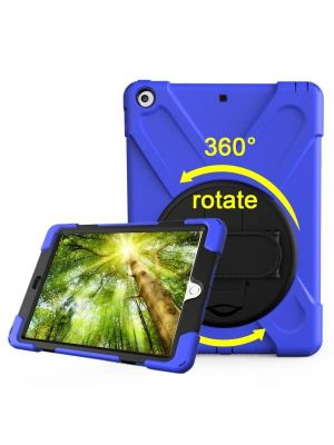 For iPad 9.7 inch (2017) 360 Degree Rotation PC + Silicone Protective Case with Holder & Hand-strap (Dark Blue)