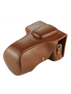 Full Body Camera PU Leather Case Bag for Canon EOS 760D / 750D (18-135mm Lens) (Coffee)