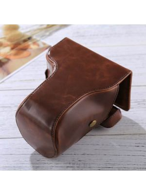 Full Body Camera PU Leather Case Bag with Strap for FUJIFILM X-E3 (18-55mm / XF 23mm Lens)(Coffee)