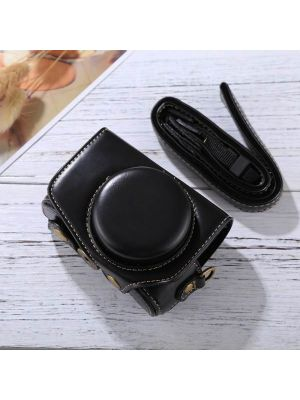 Full Body Camera PU Leather Camera Case Bag with Strap for Canon PowerShot G7 X Mark II (Black)