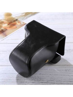 Full Body Camera PU Leather Case Bag with Strap for FUJIFILM X-E3 (18-55mm / XF 23mm Lens)(Black)