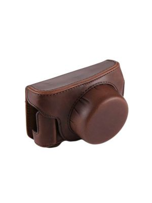 Full Body Camera PU Leather Camera Case Bag with Strap for Panasonic Lumix GF7 / GF8 / GF9 (12-32mm / 14-42mm Lens) (Brown)