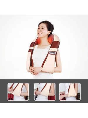 24W An Upgraded Version Electrical Back Neck Shoulder Body Massager Infrared Heated Kneading for Car / Home, AC 100-240V, US Plug