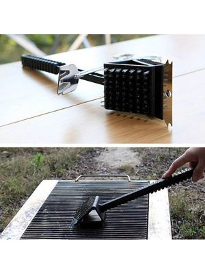 3 in 1 Copper Wire BBQ Grill Brush Long Handle Barbecue Grill Oven Cleaning Brush Cleaner