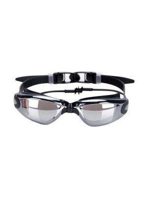 Electroplating Anti-fog Silicone Swimming Goggles with One-piece Ear Plugs for Adults(Black)