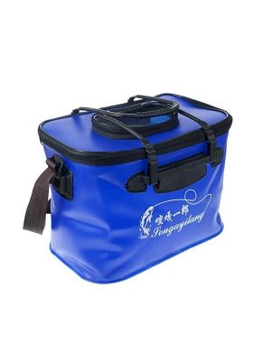 Live Fish Bucket Folding Water Bucket  Fish Bucket Bait Box Fishing Water Tank With Hand Strap,Size:36*23*25cm, Random Color Delivery