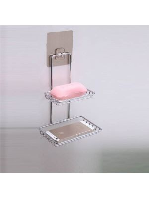 Creative Double Layer Stainless Steel Soap Stand Non-trace Magic Sticker Style Soap Dish Bathroom Shelf