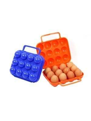 Outdoor Portable 12 Grid Egg Storage Case Holder Tray Carrier Crush-proof Break-proof Protection for Picnic Outdoor Hiking, Random Color Delivery