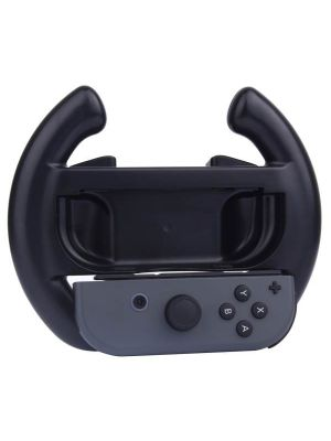 For Nintendo Switch Joy-Con Controller (Not Included) Semicircle Gaming Steering Wheel(Black)