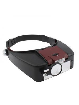 Multi-functional 2-LED Lights 1.5X / 3X / 8.5X / 10X Head Magnifier(Brown)