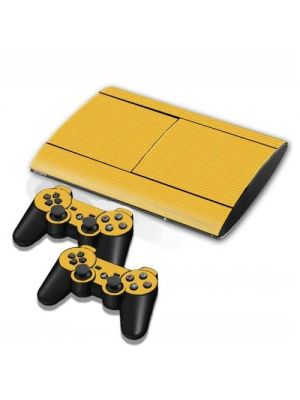 Carbon Fiber Texture Decal Stickers for PS3 Game Console(Yellow)