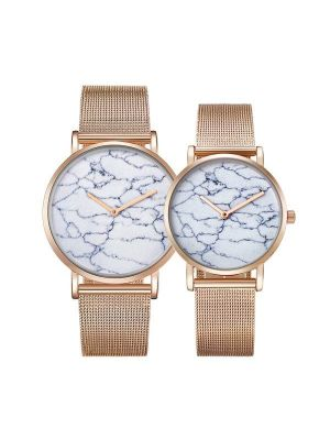 CAGARNY 6812 Round Dial Alloy Gold Case Fashion Couple Watch Men & Women Lover Quartz Watches with Stainless Steel Band