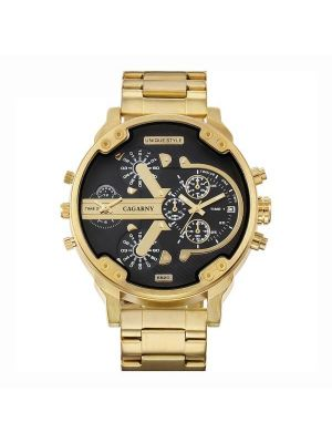 CAGARNY 6820 Fashionable Business Style Large Dial Calendar Display Men Quartz Dual Movement Watch with Stainless Steel Band (Gold + Black)